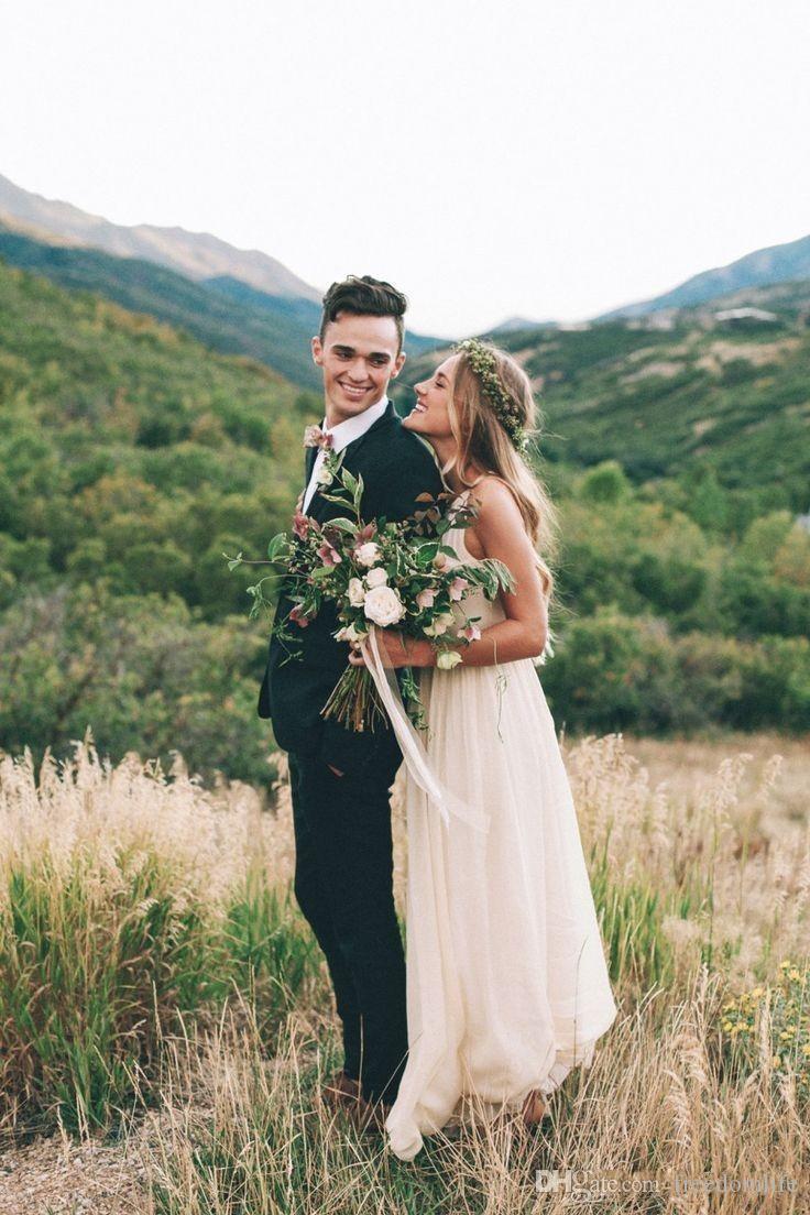 Abiti da sposa a buon mercato stile semplice stile 2017 nuovi abiti da sposa in chiffon in chiffon avorio avorio
