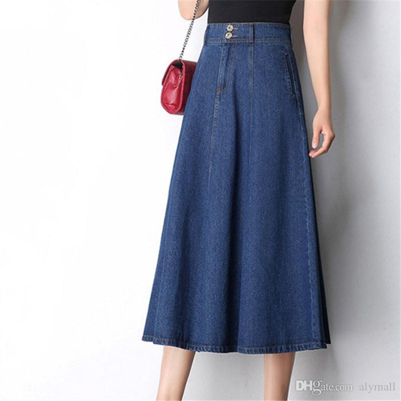 2888df7ba110 2019 Women Cotton Long Denim Skirt With Pockets 2017 Casual Vintage High  Waist Denim Maxi Skirts Jeans A Line Plus From Alymall
