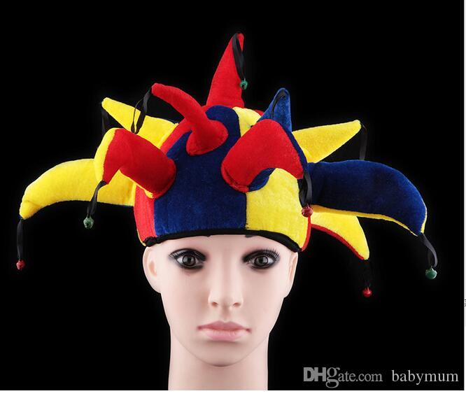 Halloween Costume Funny Clown cap Performance Props Child Adult Headgear 13 Angle Clown Hat Masquerade Ornament For football fun party hats