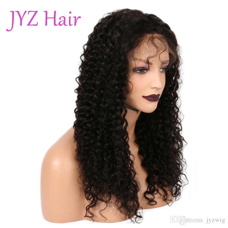 100% Brazilian Virgin Human Hair Kinky Curly Malaysian Indian Glueless Full Lace Wig/ Lace Front Wig In Stock