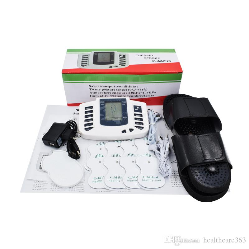 Whole English Key New Electrical Muscle Stimulator Body Relax Muscle Massager Pulse Tens Acupuncture Therapy Slipper+10 Pads+Retailbox