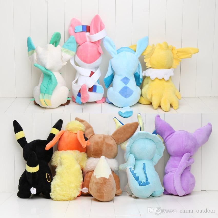 30cm Center Plush toys Pikachu dolls Jolteon Umbreon Flareon Eevee Espeon Vaporeon Kids Children Toy gifts