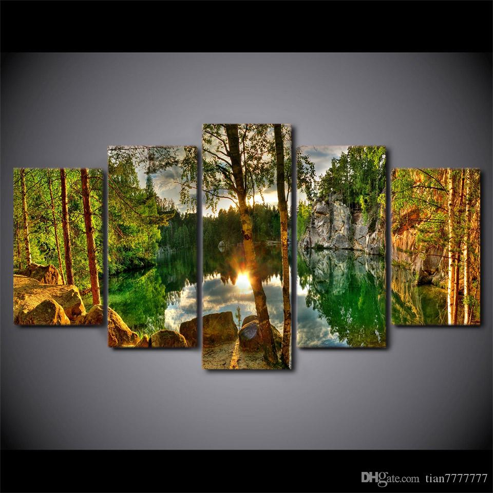 New 5 Pcs/set Sunshine Forest Lake Landscape oil Painting Unframed Canvas Print Wall art Modular Pictures For Home decor Room poster