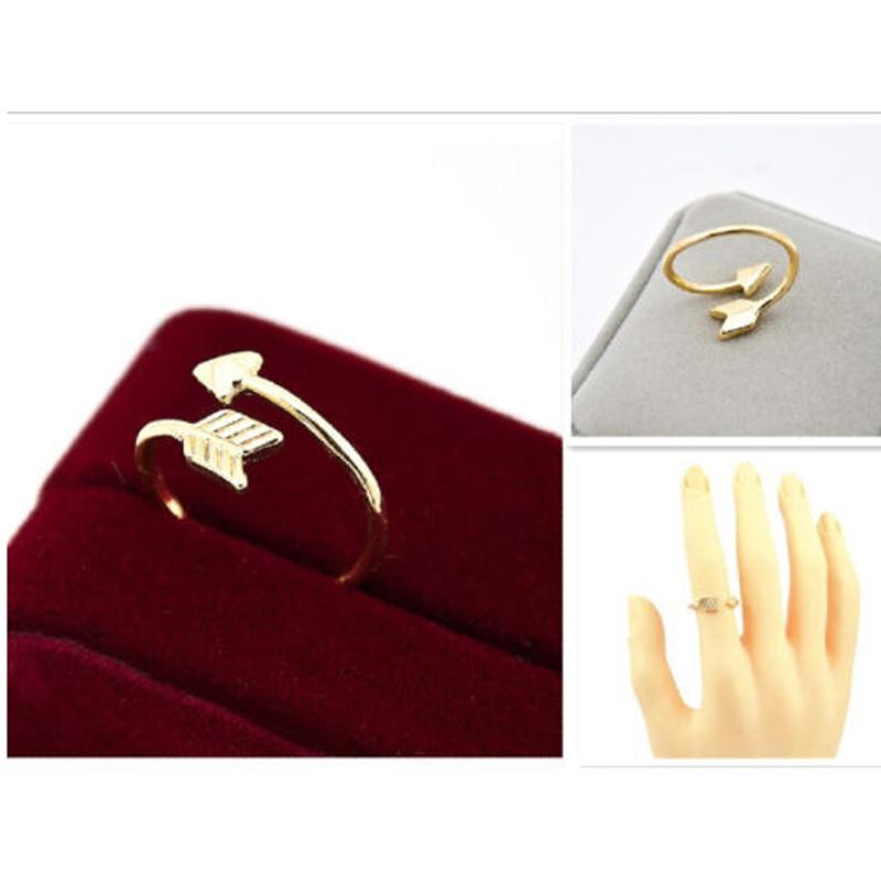 Симпатичные 18K позолоченные крошечные стрелка палец кольцо женщины мужчины классический регулируемый Aneis Boho Beach Vntage партии подарок ювелирных изделий Бесплатная доставка