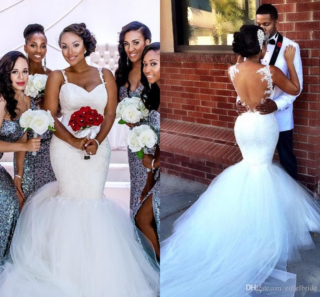 사용자 정의 화이트 웨딩 드레스 2017 섹시한 레이스 Applique 아가의 목 우아한 인어 공주 인어 트럼펫 Tulle Country Bridal Gowns Court Train
