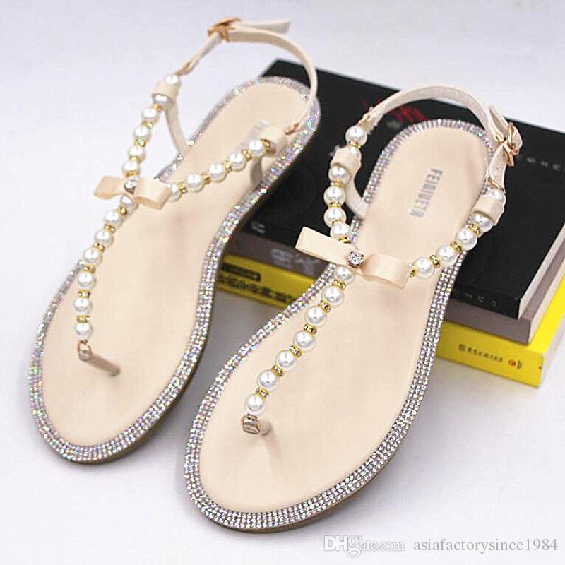 cb8179f4f5210c Brand Women S Sandals 2017 Summer Beaded Stone Pearl Female Sandals Rome  Flat Sandwich Toe Women S Sandals Flat Wedding Shoes Canada 2019 From ...