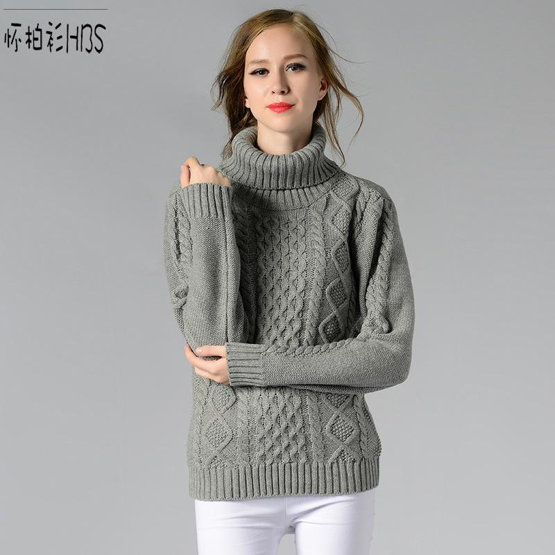 2018 Wholesale New Women Turtleneck Sweater Retro Argyle Tops ...