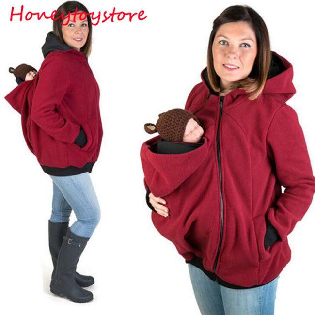 الطفل الناقل سترة الكنغر ملابس خارجية هوديس بلوزات معطف للنساء الحوامل الحمل طفل يرتدي معطف المرأة