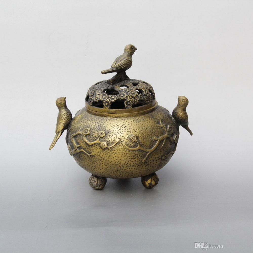 China Palace Bronze Brass Lucky Flower Bird Statue Incense Burner Censer Marked home decoration