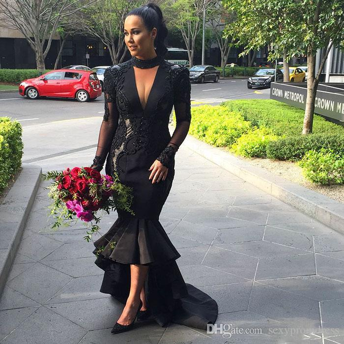 Black Deep V Neck Prom Dresses 2017 Plus Size Halter Lace Appliques Evening Gowns Satin High Low Arabic Mermaid Party Dresses Custom Made
