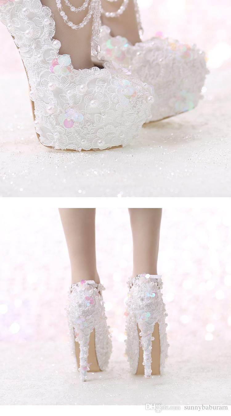 White Lace Women Pumps Pearls Straps Bridal Bridesmaid Wedding Shoes Sexy Prom Evening Night Club Party Heels 10 12 14CM Heels 049