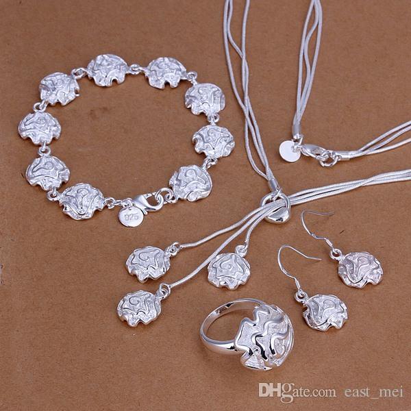 Beste Geschenkrosen Sterling Silber Überzogene Schmuckset für Frauen ES297, Mode 925 Silber Halskette Armband Ohrring Ring Set