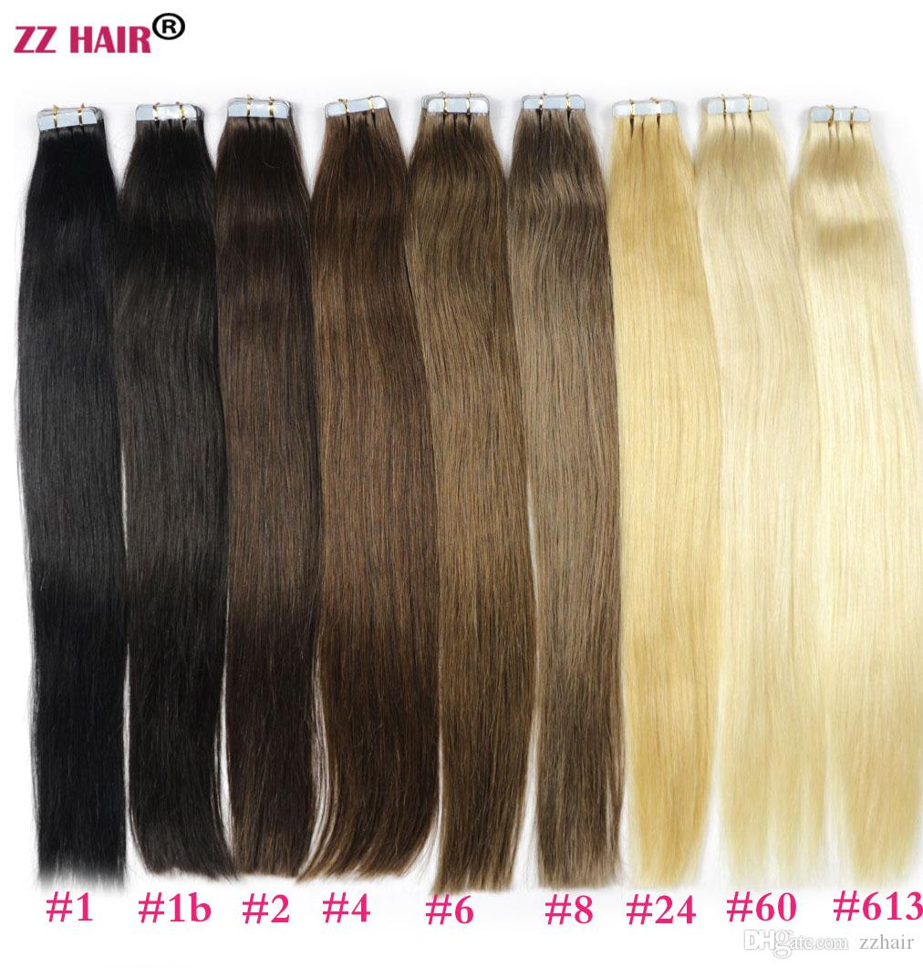 "ZZHAIR 16""-24"" Tape Remy Hair 100% Brazilian Human Hair Extensions /pack Tape In Hair Skin Weft 30g-70g"