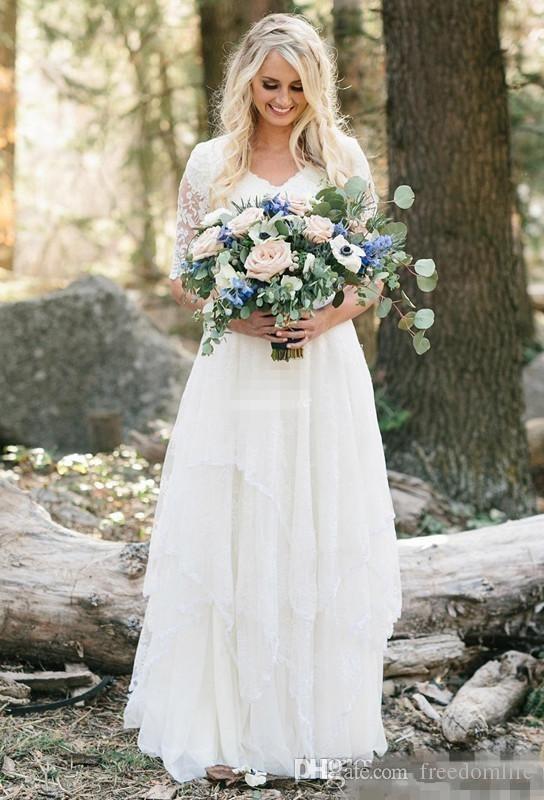 Vestidos de novia de país del oeste Encaje Gasa Modesto con cuello en V Mangas medias Vestidos de novia bohemios largos Tallas grandes Robe de mariée en dentelle