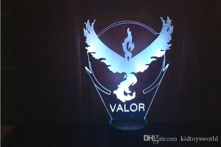 Colección Hot Team Valor Team Mystic Team Instinct 3D LED Illusion Night Light 7 Cambio de color led juguetes mejores regalos