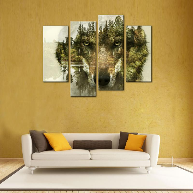 2018 Canvas Prints Wolf Picture Animal Paintings Canvas Wall Art ...
