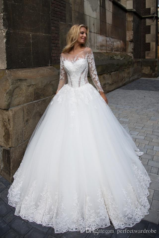 Vintage Royal Style New Wedding Dresses Lace Long Sleeves Ball Gowns ...