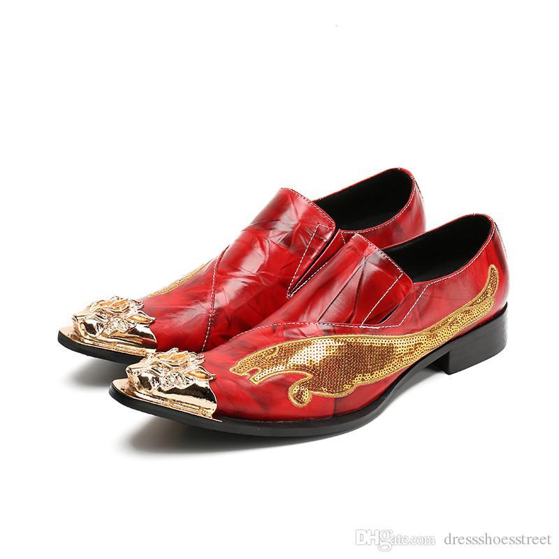 Mode Hommes Chaussures Véritable Robe de mariée Toe Cuir Métal Chaussures Plus Size Party Glitter Homme Chaussures formelles