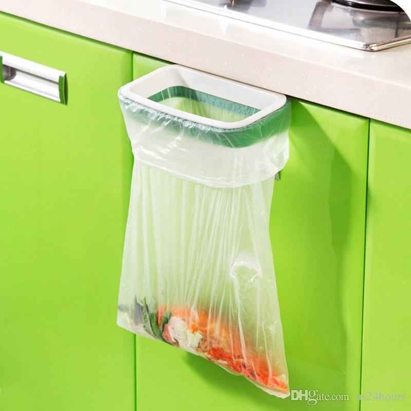 Home Kitchen Cabinet Door Mounted Garbage Trash Storage Rubbish Bag Rack Holder for family mother gift