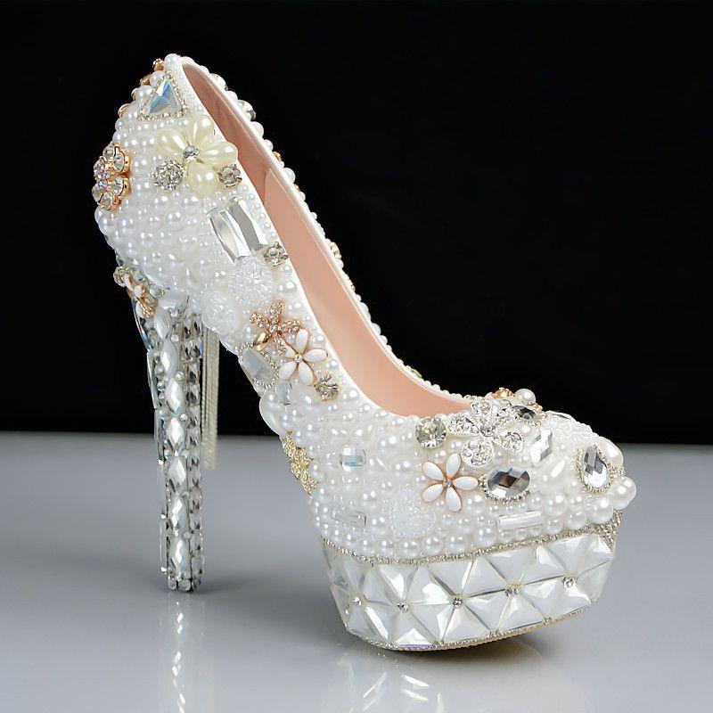 ecc7c9561 Sapato Para Noivas Mulheres Plataforma De Bombas Sexy Moda Luxo Pérola Strass  Festa De Casamento De Salto Alto Sapatos De Noiva Sandalia Gladiadora De ...