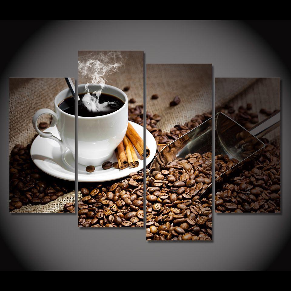 Großhandel 4 Teile / Satz Gerahmte Hd Gedruckt Kaffeebohnen Heißer ...