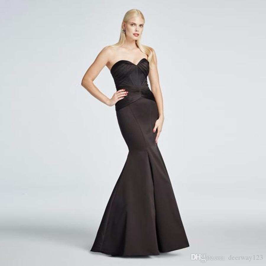 Long Strapless Satin Fit And Flare Prom Dress Zp285036 Black Ruched