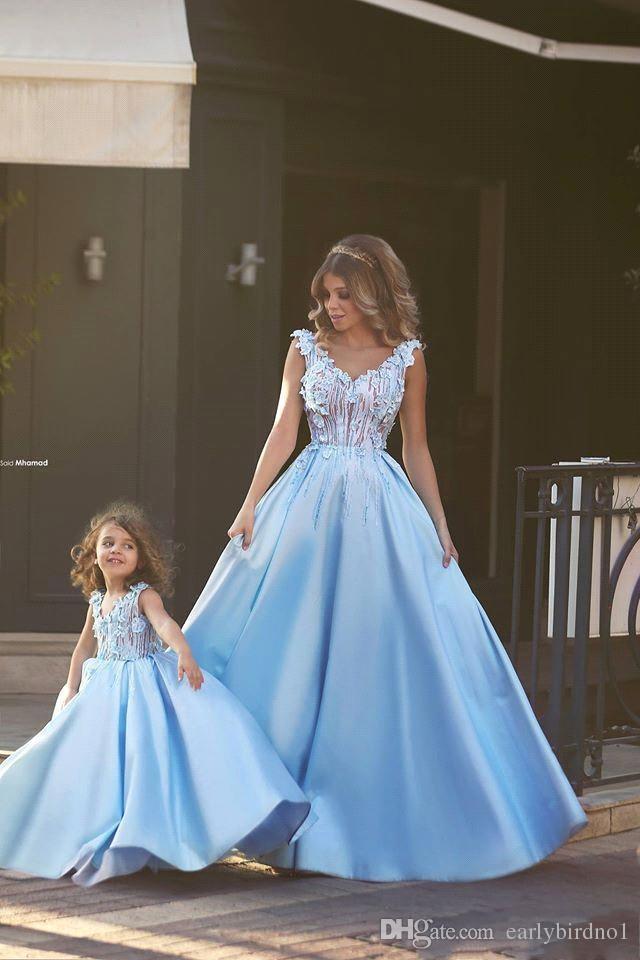 2018 New Vintage Light Blue A-line Flower Girl Dresses For Weddings Mini Me Mother And Daughter Dresses Girls Pageant Dresses Arabic BA1763