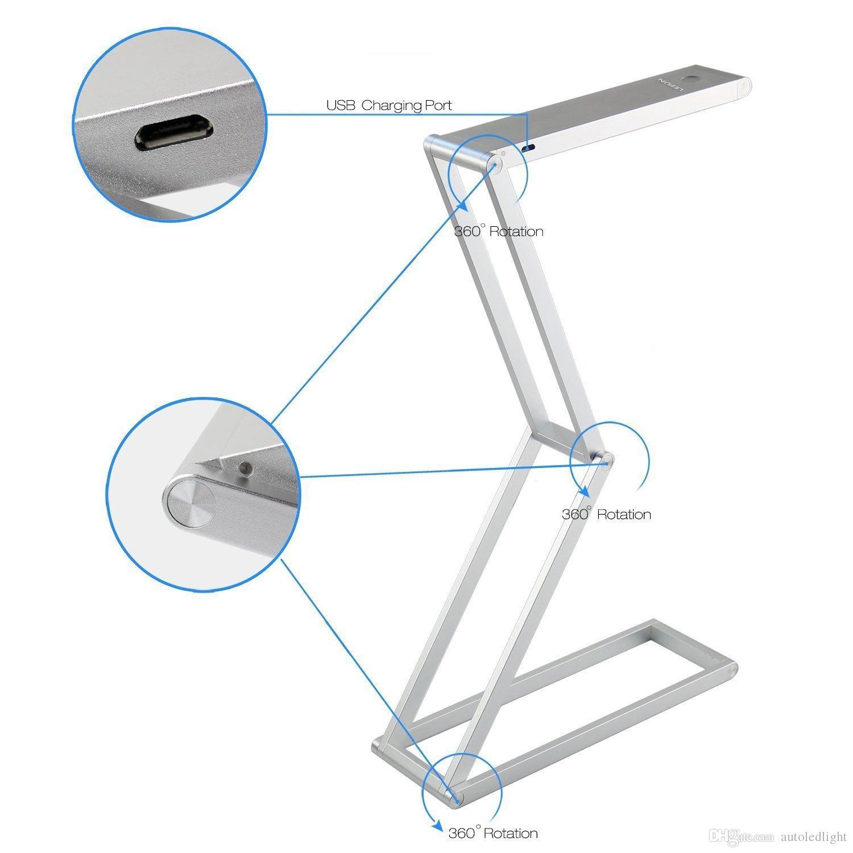 Lampada da tavolo pieghevole in alluminio trasformabile Lampada da tavolo in lega di alluminio Dimmerabile lettura Studing relax decotto camera