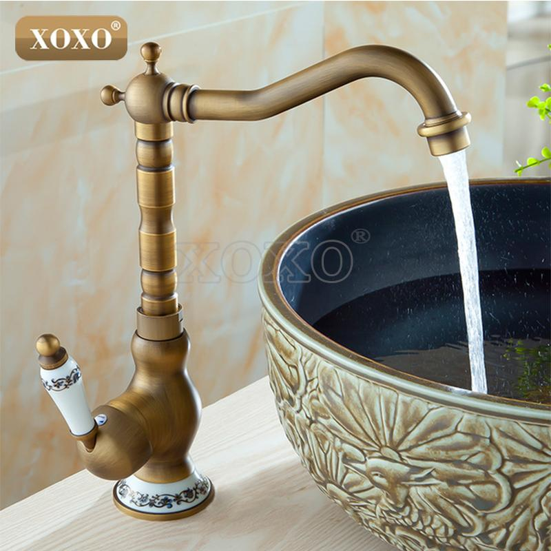 Wholesale  XOXO Sink Bathroom Faucet Basin Mixer Tap Antique Brass Ceramics  Deck Mounted Retro Porcelain Handle Faucets 50041BT 1 Deck Mounted Basin  Mixer ...