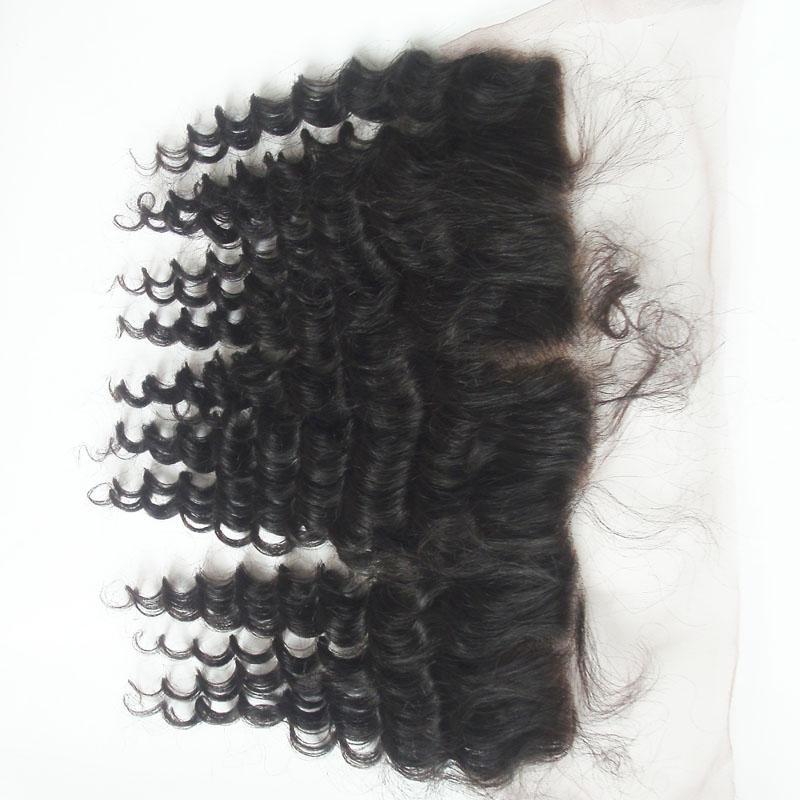 Günstige tiefe Welle Spitze Frontal gebleichte Knoten indische Jungfrau Haar Ohr zu Ohr Spitze Schließung unverarbeitete Menschenhaar 8A Grade natürliche schwarze Farbe