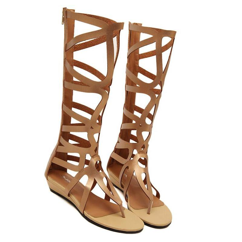 df4214090d35 Women Sexy Summer Knee High Boots Gladiator Holes Cut Out Open Toe Sandals  Party Clubwear Shoes Pumps Flat Heels Fashion Shoes Shoes For Women Nude  Wedges ...