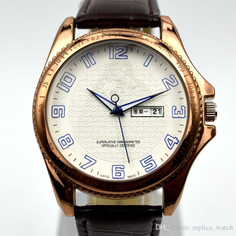c92f18ea726 Compre Personalizar Elegante Homens AAA Marca Top Relógio De Quartzo 3ATM À  Prova D  água De Luxo Auto Dia   Data De Couro Relógios Masculinos Digitais  Moda ...