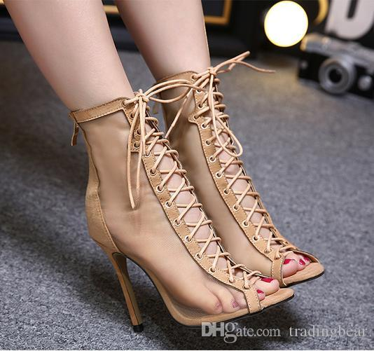 df21e3ee4a9 Rome Style Lace Up Meshy Stiletto Heels Peep Toe Pumps Sexy Lady Party Shoes  Size 35 To 40 Skechers Shoes Mens Dress Shoes From Tradingbear