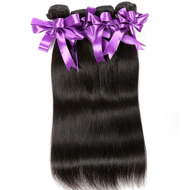 İşlenmemiş Virgin İnsan Saç 4 Paketler Perulu Malezya Brezilyalı İnsan Saç Uzantıları 8-30 Inç Doğal Renk Düz Saç örgüleri