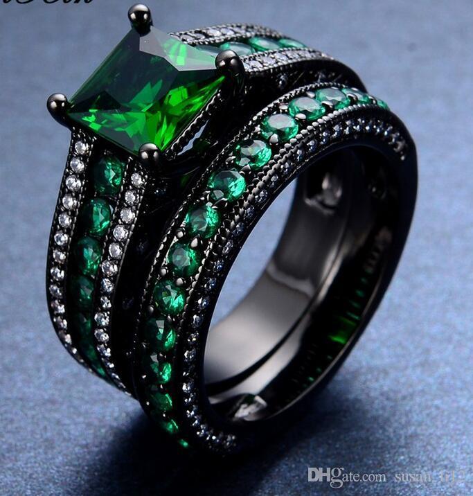 2018 New Fashion Green Zircon Stone Ring Sets Vintage Wedding Rings