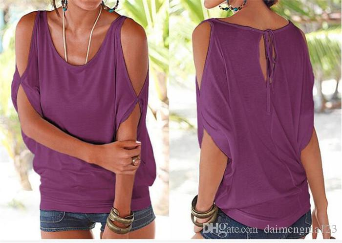 Women Bare Shoulder T-shirt Tops Blouse Loose Batwing Tee Open Cold Shoulder Top M073