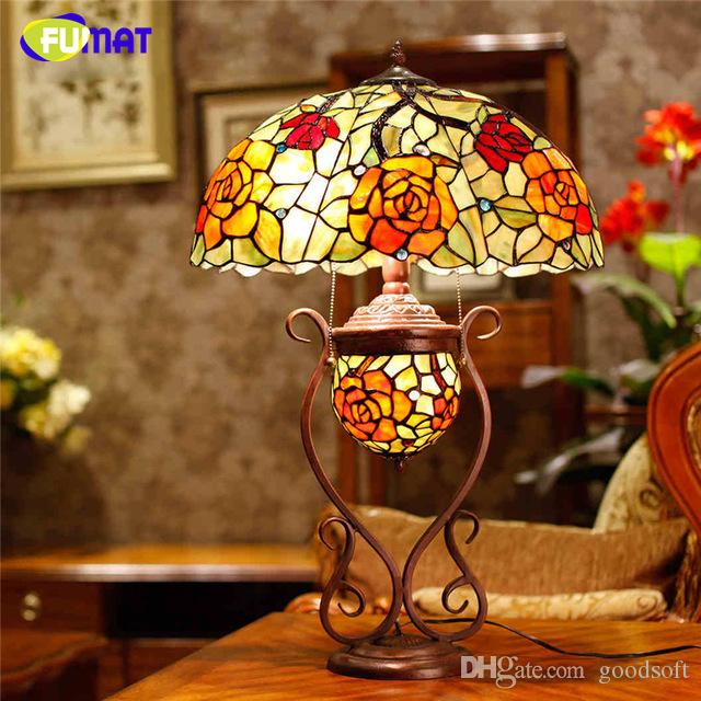 2018 european tiffany stand lamp creative stained glass rose oval shade table lamp living room bedside stand lamp bar studio lights from goodsoft