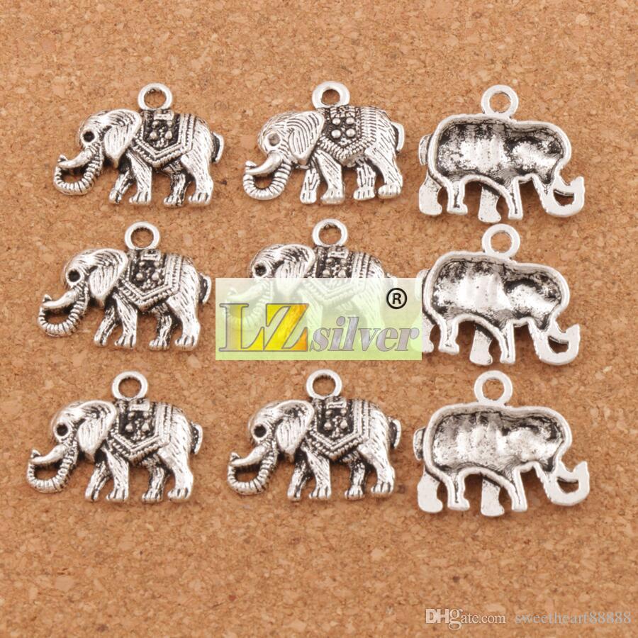 マンモス象の魅力的なペンダント100ピース/ロット24x19 mmアンティークシルバージュエリーDIYフィットブレスレットネックレスイヤリングL1187