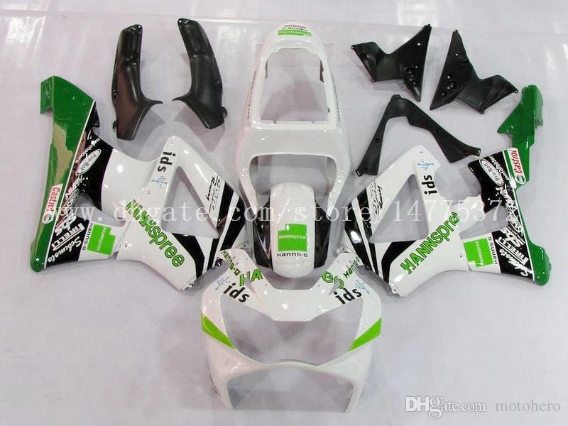 Weiß grüne Verkleidungen für HONDA CBR900 RR 2000 2001 CBR900RR 929 2000-2001 CBR900RR 929 00-01 929 Einspritzungsverkleidungssätze # p09l5