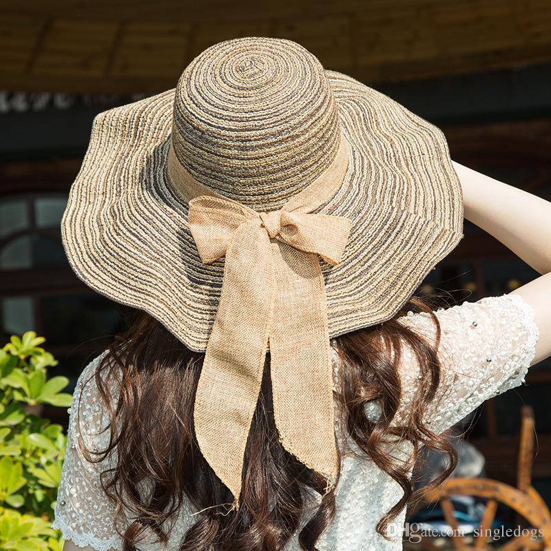 Wholesale Vintage Women Wide Brim Hats Floppy Summer Straw Hat Girls Teen  Lady Travel Beach Holiday Cool Bowknot Hats Sun Hat Caps Black Floppy Hat  Flat ... dce3f87bf35