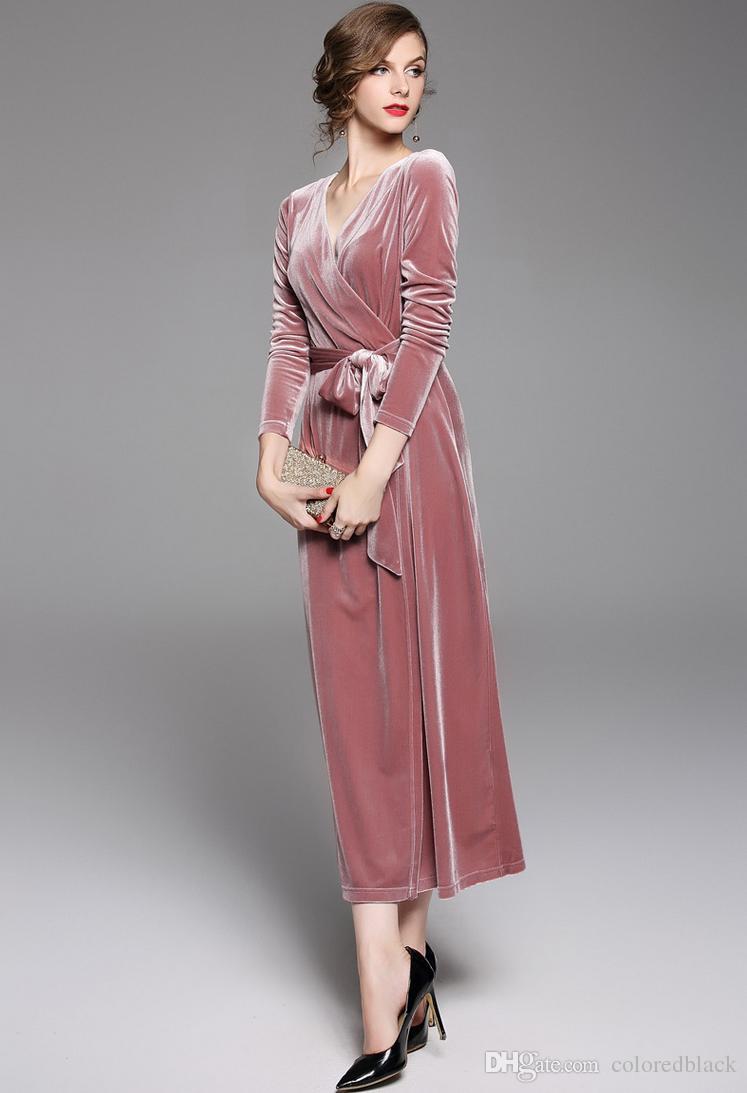 2017 faddish dress com v colarinho apertado slimmer one piece-dress rosa de veludo vestido de moda para as mulheres temperamento debutante
