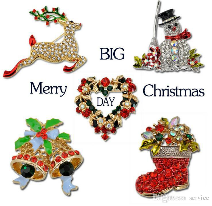 Christmas Brooch Rhinestone Crystal Brooches Jeweled Bell Snowman Deer Brooch And Pin Clothes Decor Christmas Gifts 2017 Hot Style