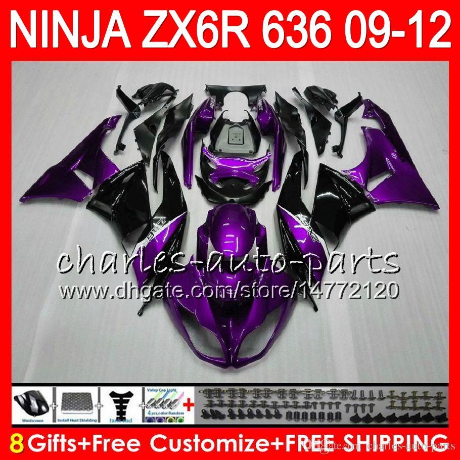 8Carts 23Couleurs Pour KAWASAKI NINJA ZX636ZX6R 09 10 11 12 600CC 25NO58 Violet Noir ZX 636 ZX 6R ZX-636 ZX-6R 2009 2010 2011 2012 Carénage