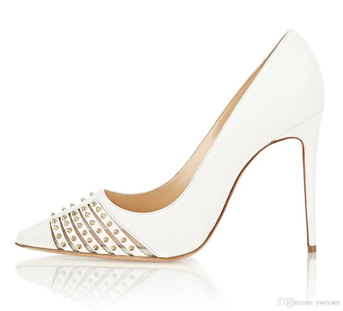 Zandina Femmes Dames 100mm Haut Talon Pompes Rivets Pointes Bout Pointu Robe De Soirée Stiletto Chaussures Blanc K333