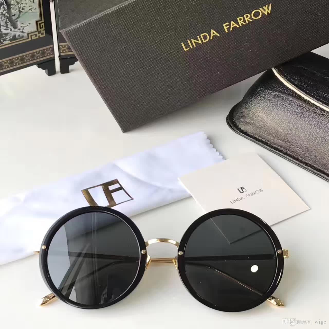 Compre LINDA FARROW A Linha Preto Rodada Quadro Óculos De Sol Da Moda  Óculos De Sol Óculos Nova Marca Com Capa De Couro De Wige,  55.84    Pt.Dhgate.Com ab1740d6ed