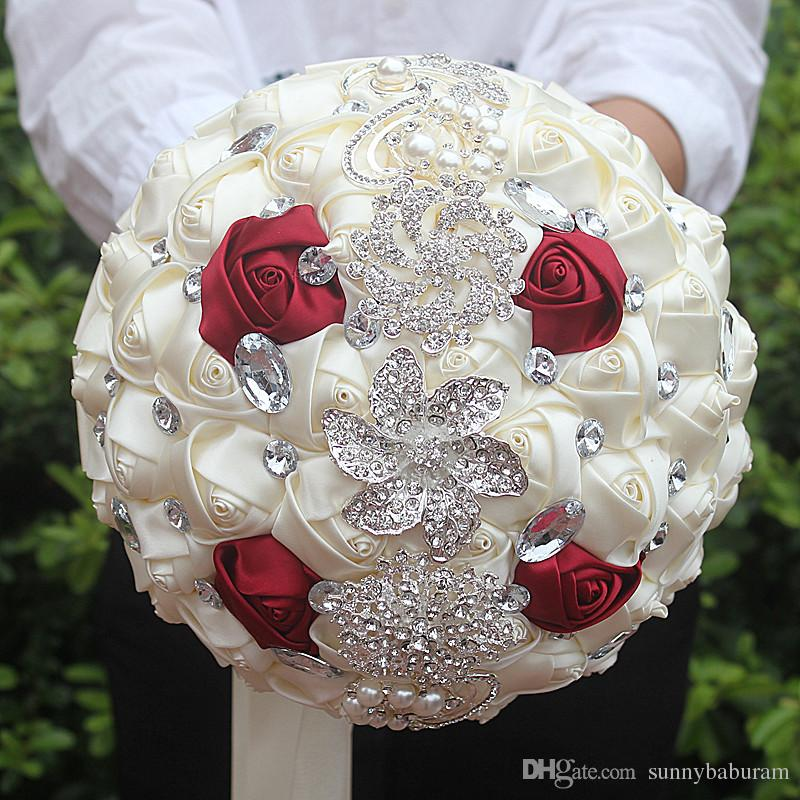 White wine red wedding bridal bouquets simulation flower wedding white wine red wedding bridal bouquets simulation flower wedding supplies artificial flower crystal sweet 15 quinceanera bouquets w228 e white wine red mightylinksfo