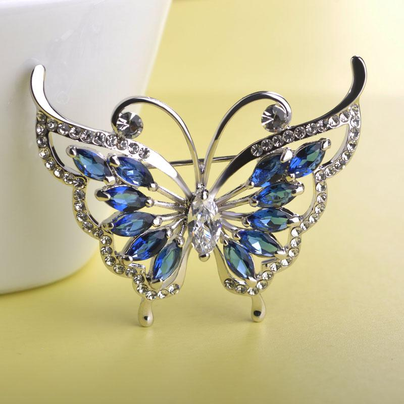 Wholesale- MECHOSEN Fashion Green Rhinestone Butterfly Brooch Prong Setting Crystals Gold Plated Wedding Corsage Women Hats Suit Brooches