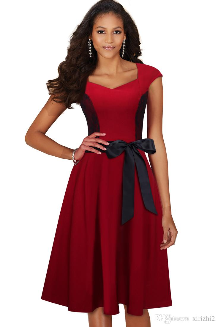 821aed0463116 Satın Al Yaz Kısa Kollu Yay A Line Elbise Yeni Varış Avrupa Yaz Artı Boyutu  Kırmızı Elbise V Yaka İmparatorluğu Slash, $32.02   DHgate.Com'da