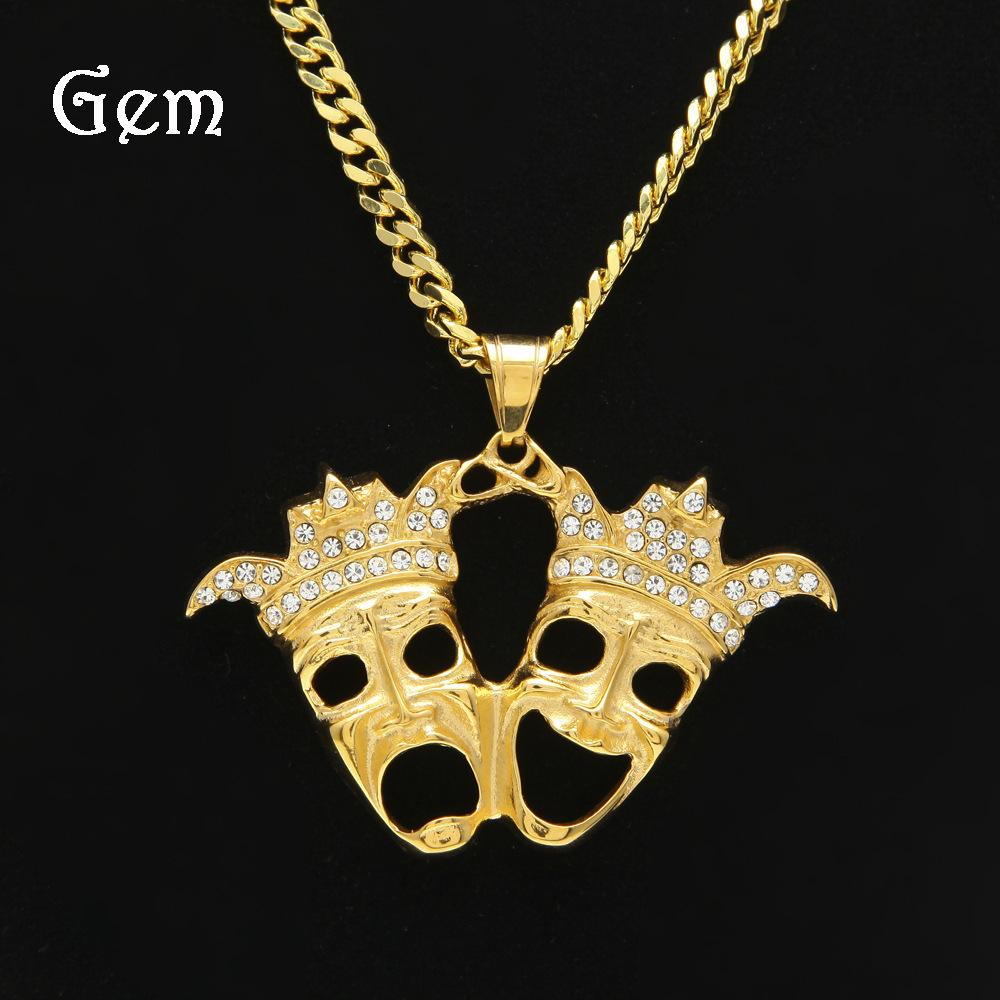 Wholesale double mask skull pendant necklace full diamond hip hop wholesale double mask skull pendant necklace full diamond hip hop jewelry gold plated for male top quality fashion hiphop party accessories wholesale aloadofball Gallery