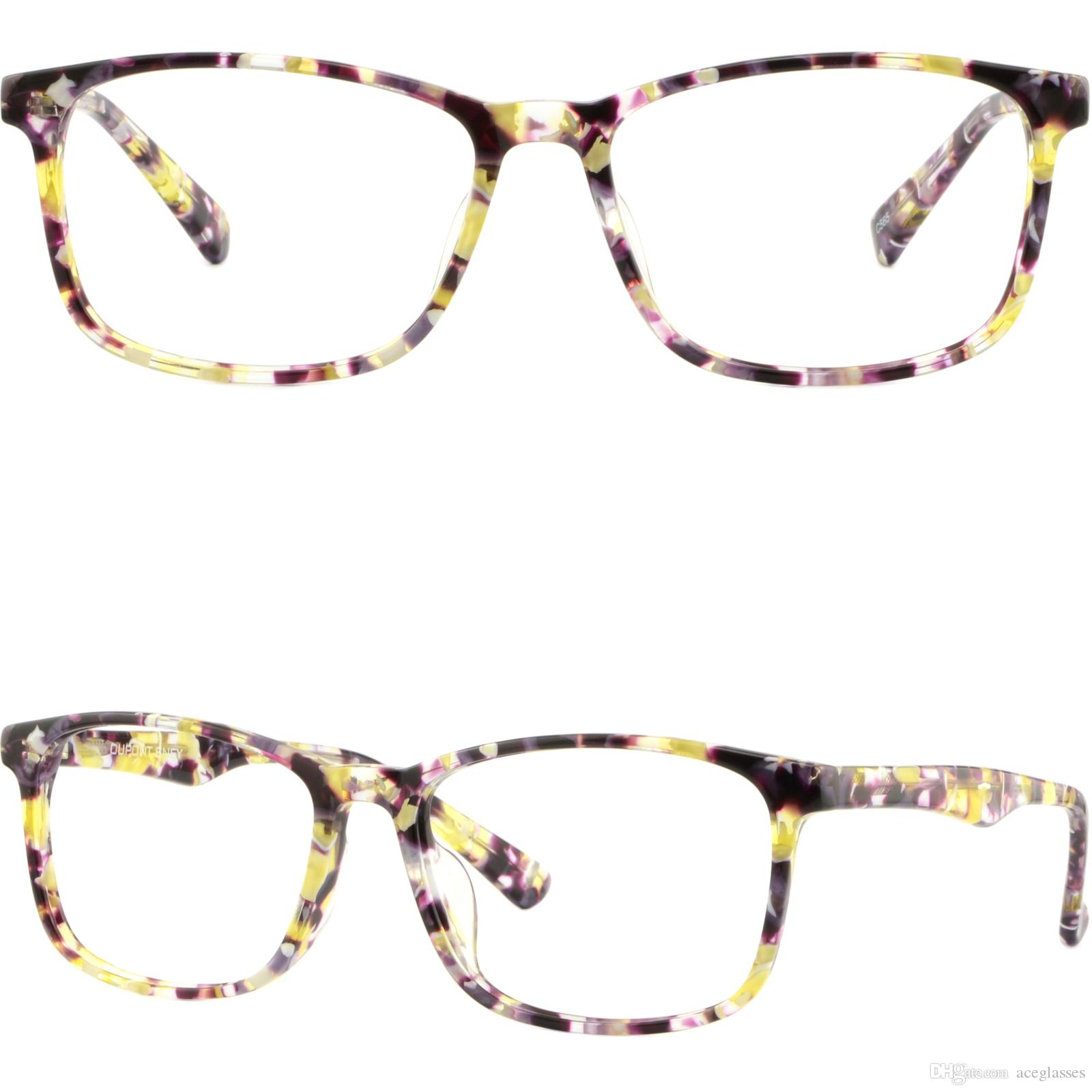 Light Womens Plastic Frames Rectangle Thin Acetate Glasses Yellow ...